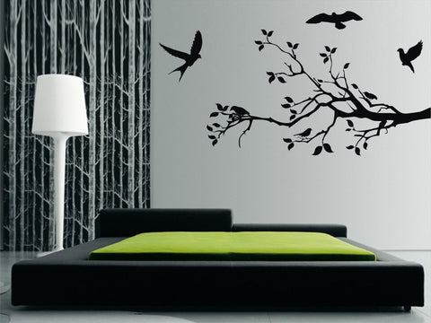 Large Branch with Flying Birds Wall Art