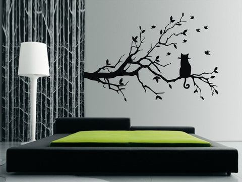 Cat sitting on Large Branch with birds Wall Art