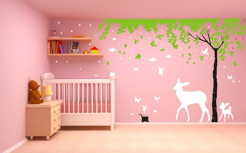 Fairies, Tree and Deer Wall Art - Full Length Wall Design