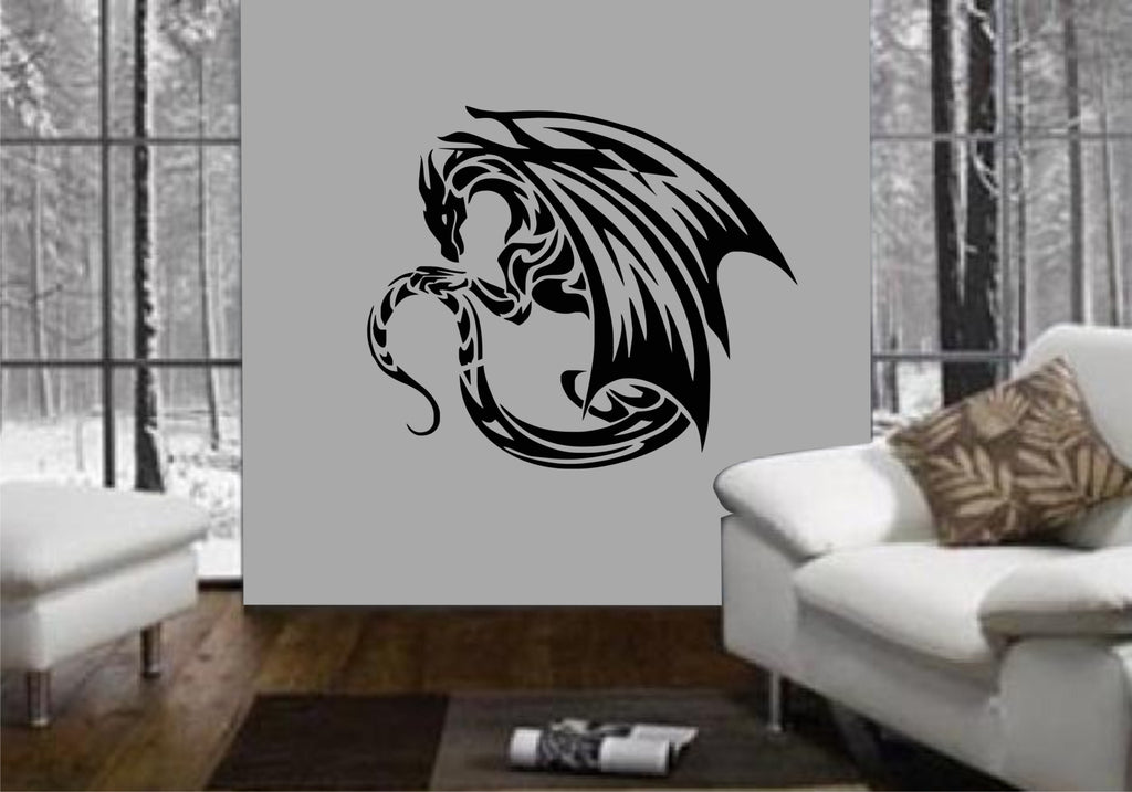 tribal dragon wall art sticker