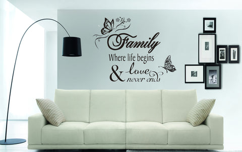 Family where life begins & love never ends Wall Art Sticker (100cm wide x 70cms deep)