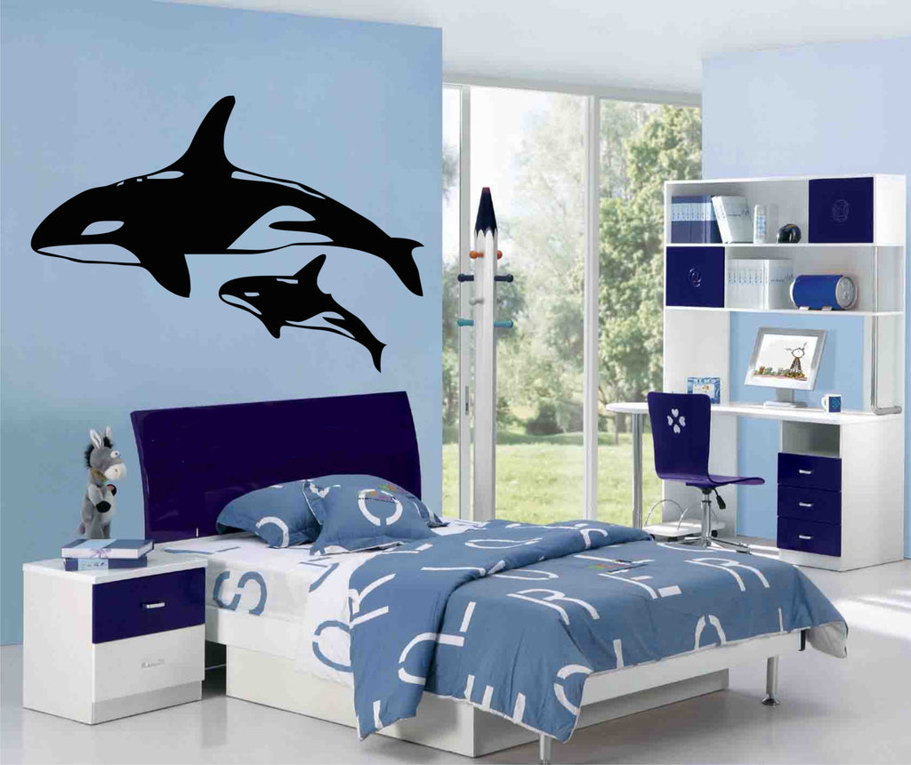killer whales wall art stickers