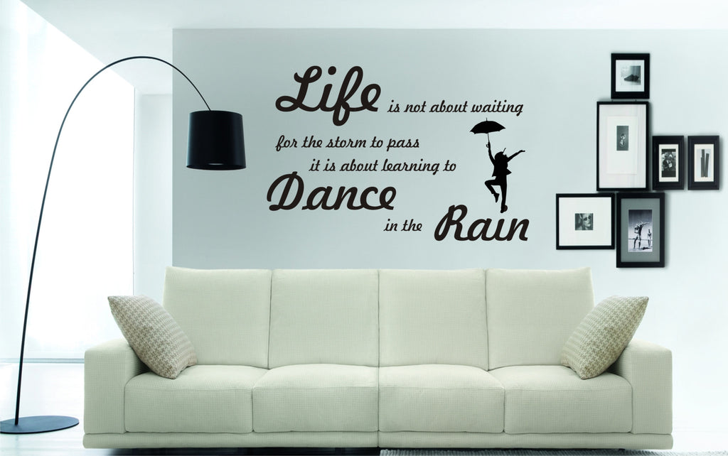 life is not about waiting for the storm to pass wall sticker