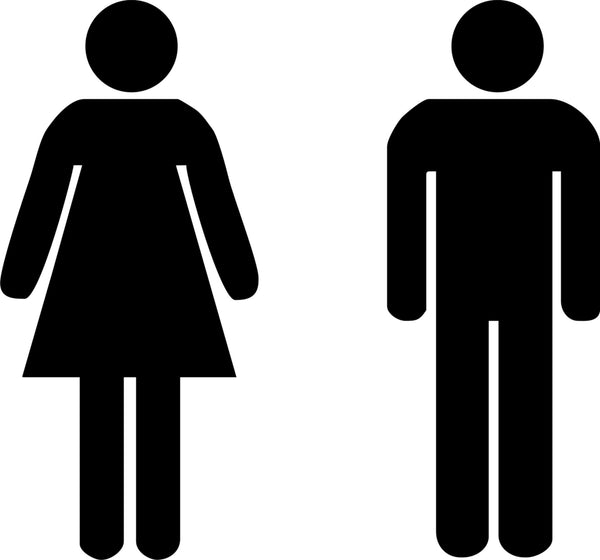 Male and Female Toilet Signs stickers, standard door ...