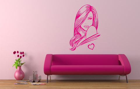 Sexy Woman with love heart wall art sticker