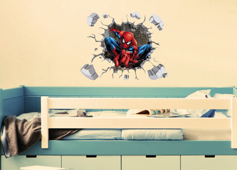 3D Spiderman bursting through the wall (70 x 51cms)