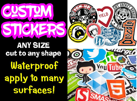 Custom Printed Vinyl Stickers ~ Cut to Shape ~ 1m x 70cm template - Full Colour