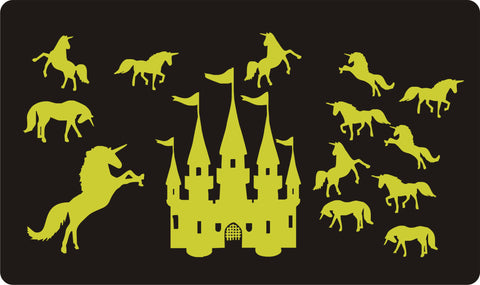 Glow in the Dark Unicorns & Castle