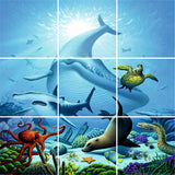 FULL COLOUR SEA LIFE TILE STICKERS - Whale Design