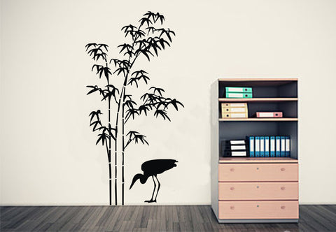Bamboo Wall Art & Feeding Crane
