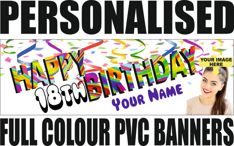 PVC Birthday Banners - Personalise with Name, Birth Date and Photo!