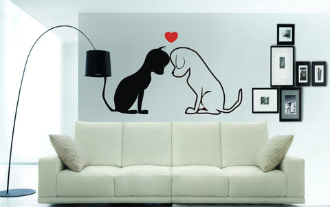 Cat and Dog with Love Heart decorative wall decal