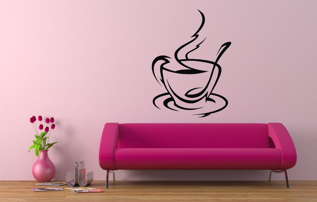 coffee cup wall art stickers