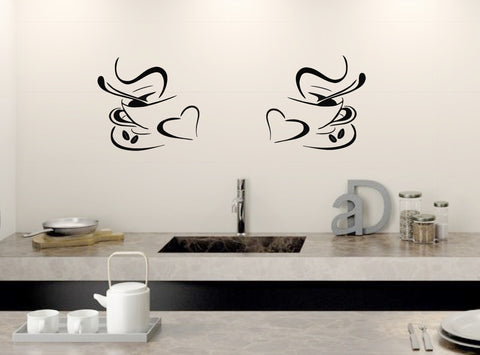 2 COFFEE CUPS Kitchen Wall Art Stickers