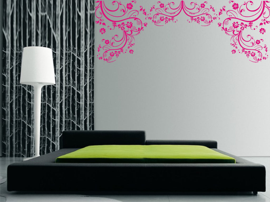 Large floral wall art sticker
