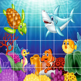 FULL COLOUR SEA LIFE TILE STICKERS - Shark & Turtle Design