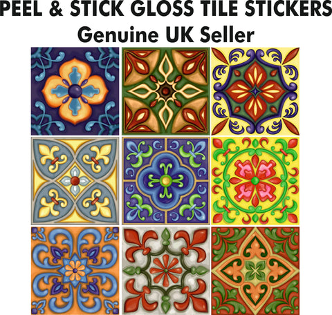 6 Inch VINTAGE VICTORIAN STYLE TILE STICKERS - Kitchen or Bathroom PEEL & STICK