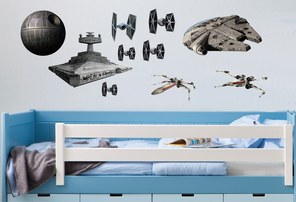 star wars spacecraft wall art stickers - full colour