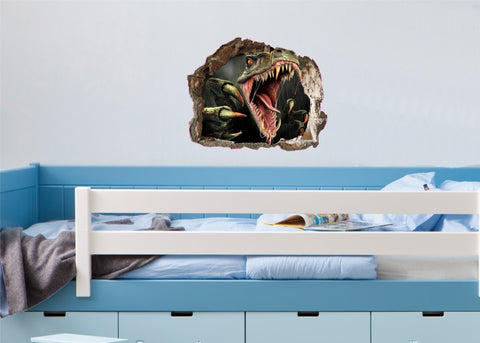 3D Tyrannosaurus Rex bursting through the wall (61 x 47cms)