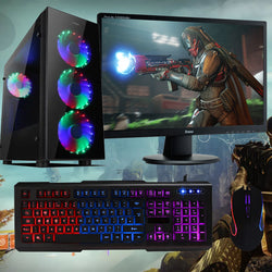 "NEW!! RGB SAHARA P15 Full Package Gaming PC GTX 1050 6 CORE 22"" screen ideal 4 Fortnite SPO 3yr warranty"