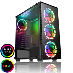 Computer Case CiT Raider Mid Tower Gaming Case 4 x RGB Halo Fans