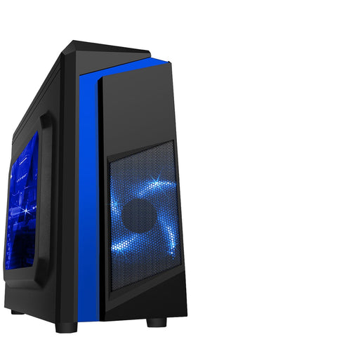Computer Case CiT F3 Black Midi Case with 2 x 12cm LED & Side Windows - Blue Red White Green Purple