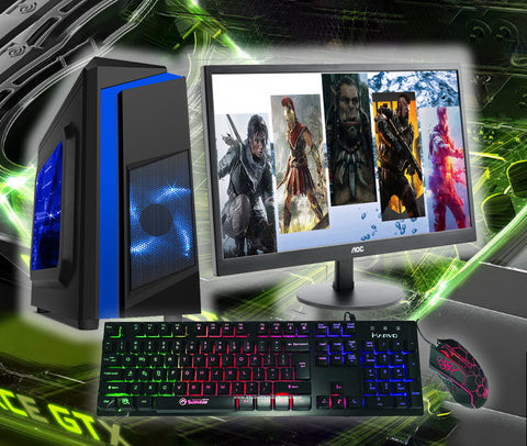 "Full Gaming PC Package Core i5 8GB 22"" Screen SSD Options GTX 1650 AC145"