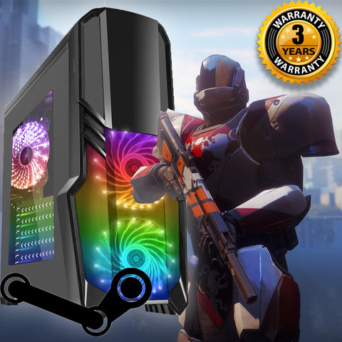NEW!! Gforce Core i7 Colour Changing PC Tower 8GB GTX 1050 Ti SSD & HDD SPO ACE20
