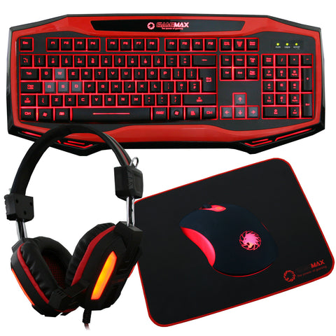 Raptor Keyboard Mouse Headset Mouse Mat Kit In Blue or Red