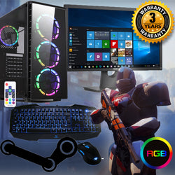 "NEW!! RGB Raider Full Package Gaming PC GTX 1650 i5 22"" screen ideal 4 Fortnite SPO 3yr warranty"