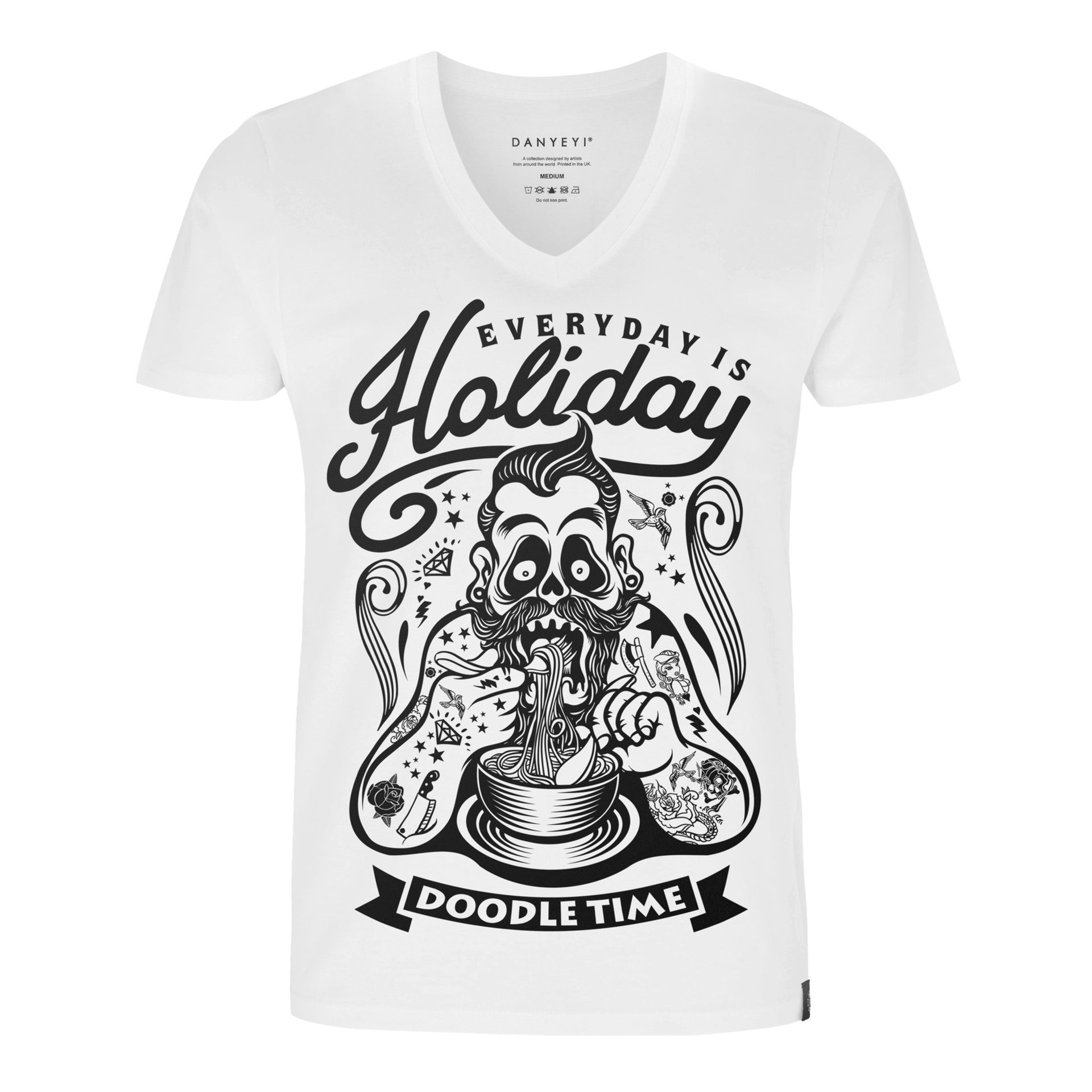Doodler - White / Black - Crew & Deep V Neck