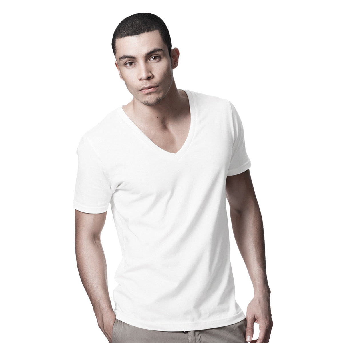 7e9d14dcd99 DANYEYI® Mens Organic Deep V-Neck White   Black Slim Fit Plain T-Shirt Tee  - S-XL