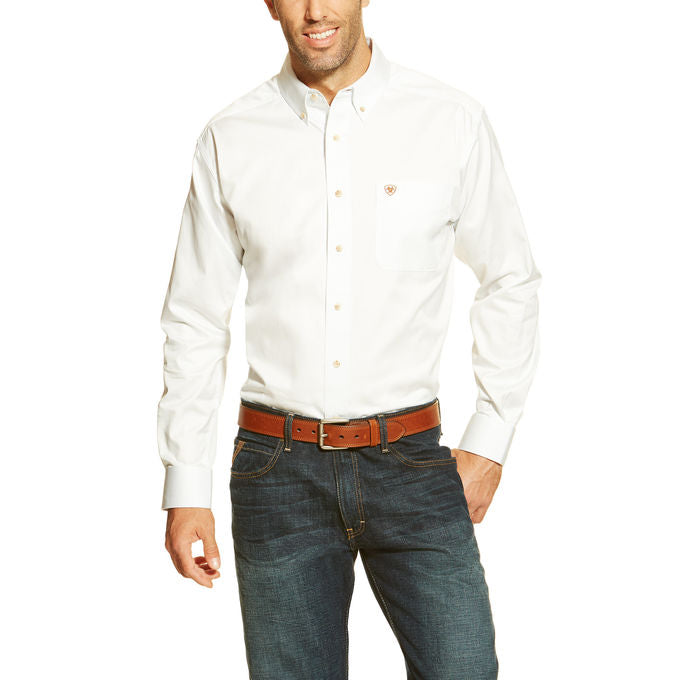 Men's White Solid Twill Shirt
