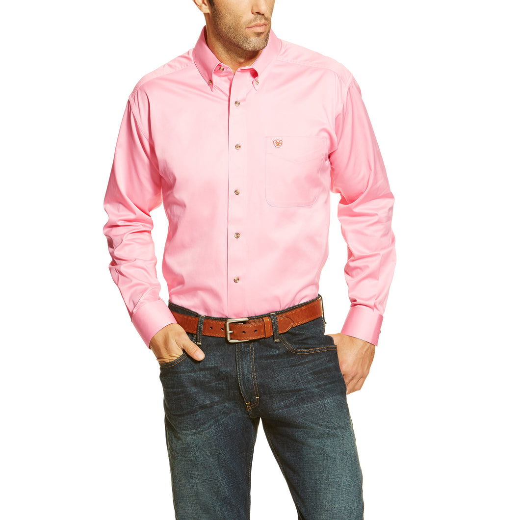 Men's Solid Pink Twill Shirts - 10000527