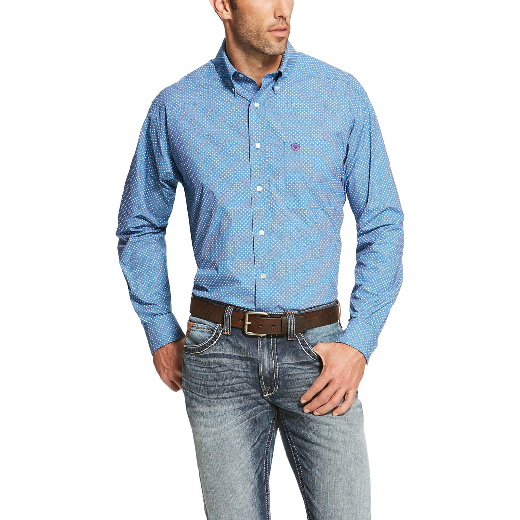 Men's Potter Teal Blue Print Shirt - 10020686