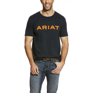 Ariat Men's Logo Branded T-Shirt Navy/Orange