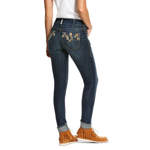 Women's Ariat R.E.A.L. Mid Rise Stretch Deco Tile Skinny Jean
