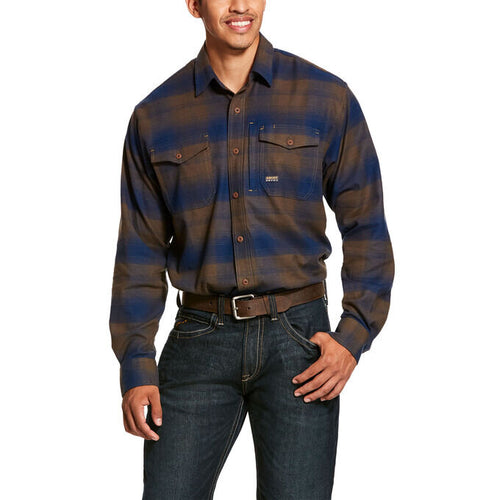 Men's Ariat Rebar Flannel DuraStretch Work Shirt Drake Plaid