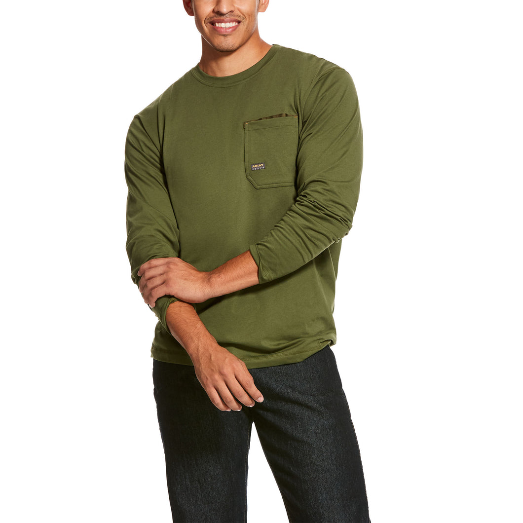 Men's Ariat Rebar Crew Long Sleeve  T-Shirt Pine Green