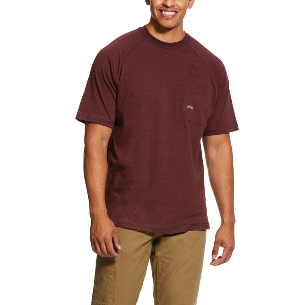 Men's Ariat Rebar Cotton Strong T-Shirt - Burgundy Heather