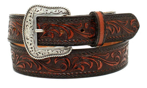 """Tucson""  Embossed Belt - Black/Tan"