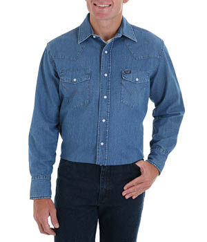 Wrangler Cowboy Cut Work Western Stonewash Denim Long Sleeve Shirt - 70127SW