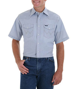 Wrangler Cowboy Cut Work Western Chambray Short Sleeve Shirt