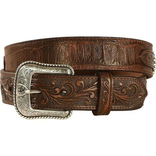 Ariat Men's Floral Concho Leather Overlay Belt A1022202