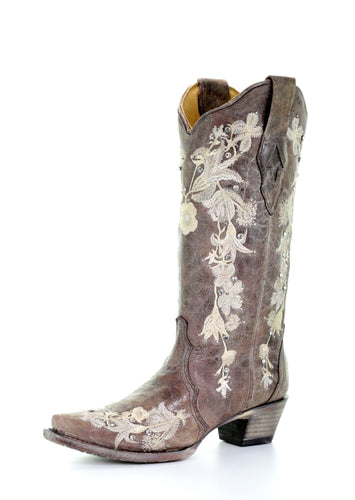 Corral Tobacco Floral Embroidery Boots
