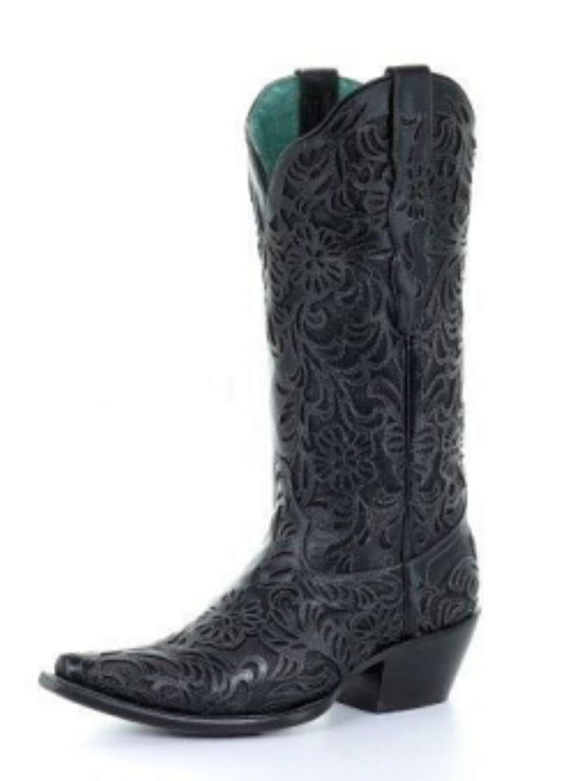 Corral Women's Black Full Inlay Snip Toe Cowboy Boots - G1417