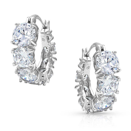 Montanna: Sliding Brilliance Hoop Earrings