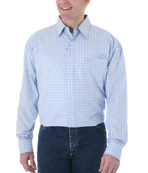 Wrangler George Strait Blue Long Sleeve Poplin Plaid
