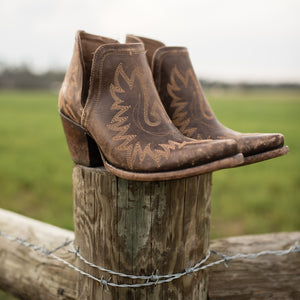 Ariat® Ladies Dixon Distressed Brown Western Ankle Boots