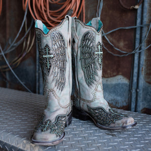 Women's Corral Turquoise Cross + Wings  Boot